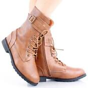 Womens Lace Up Ankle Boots Flat