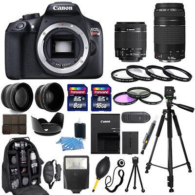 Canon EOS Rebel T6 Camera + 18-55mm IS II + 75-300mm + 30 Piece Bundle