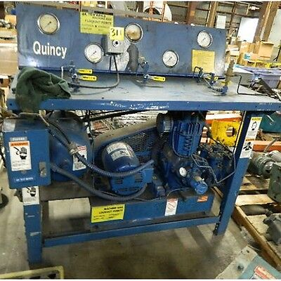 Quincy 310 Air Compressor 550psi Test Bench Wbaldor Motor 3ph 5 Hp M5218t