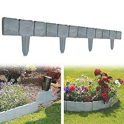 Set of 10 Garden Fence 8 Ft Cobbled Stone Effect Garden Lawn Edging Plant Border
