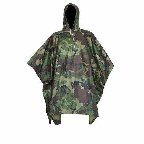 Waterproof Camo raincoat Army Hooded Ripstop Rain Poncho Mil