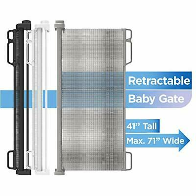 "Perma Indoor/Outdoor Retractable Baby Gate 41"" Tall, Extends to 71"" Wide, Gray"