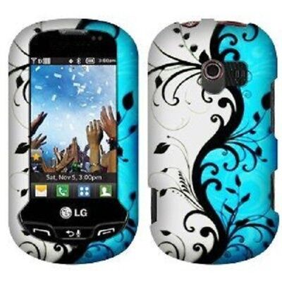 Rubberized Blue Snap - Snap-On Design Rubberized Hard Case Cover for LG Extrovert VN271 - Blue Vine
