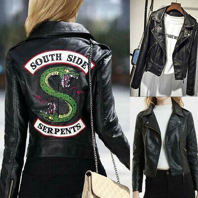 South Side Serpents Riverdale Snake Gang Women PU Leather Jacket Motorcycle Coat