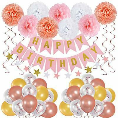 Birthday Party decorations for Women Include Pink Rose Gold Balloon Arch Kit