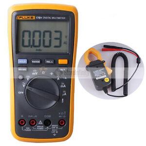 FLUKE 17B+ PLUS Digital Multimeter (Backlit) + Temp Probe AC TRANSDUCER Tester