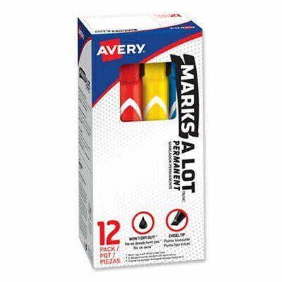 Marks-a-lot Permanent Marker Large Chisel Tip Assorted 12set Ave24800