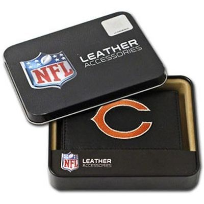 1 Chicago Bears Football Rico Ind. Leather Blk Embroidered Trifold Wallet  Chicago Bears Black Leather