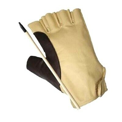 TRADITIONAL ARCHERY LEATHER BOW GLOVE AG306 YELLOW. RIGHT