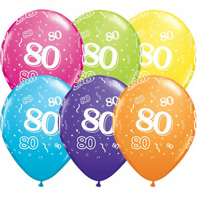 80th birthday balloons x 5 pack. Assorted colours - Qualatex Balloons](80th Birthday Color)