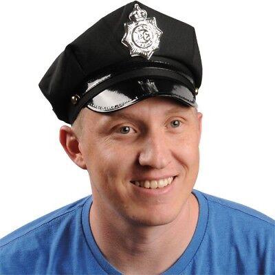 Black Police Hat Cop Officer Costume Silver Plastic Badge Soft Cap Adult