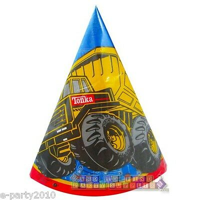 TONKA CONE HATS (8) ~ Construction Truck Birthday Party Supplies Paper Favors - Tonka Truck Party Supplies