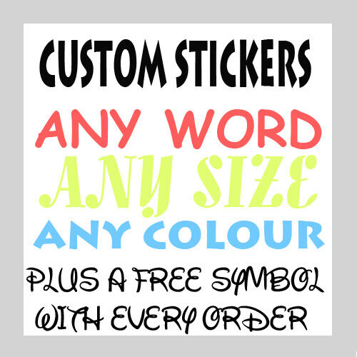 Personalised  Name Word Letter Vinyl Custom Sticker Car Wall art FREE symbol