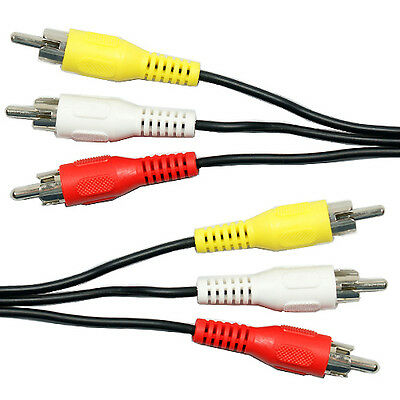 2m 3 RCA Male to Plug Cable/Lead - PHONO Audio & Video Composite AV TV/DVD Wire