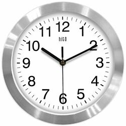 hito Modern Silent Wall Clock Non Ticking 10 inch Sweep Aluminum Frame Glass NEW