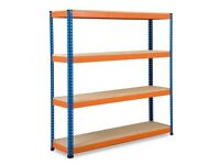 2 Bays of Rapid Racking shelving units (blue and orange) in excellent condition