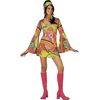 Retro Hippy Girl XL Plus Size UK 22-24 Ladies Hippie 1960s Fancy Dress Costume