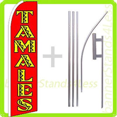 Tamales Swooper Flag Kit Feather Flutter Banner Sign 15 Set - Rq