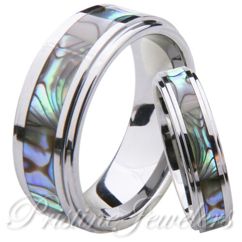 His & Hers Abalone Shell Tungsten Carbide Men's Women's S...