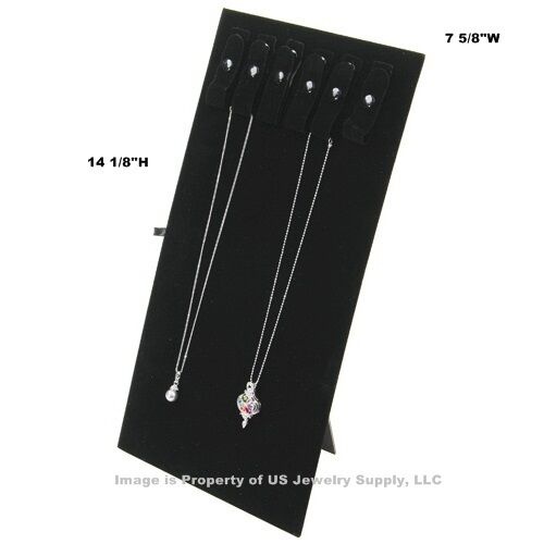 "6 Black Necklace Pendant Easel Jewelry Displays with 6 Snaps 7 5/8""W x 14 1/8""H"
