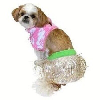 NWT Size SMALL 2-PIECE HULA GIRL Dog Halloween Costume Pink Floral S New - Bichon Frise Halloween Costumes