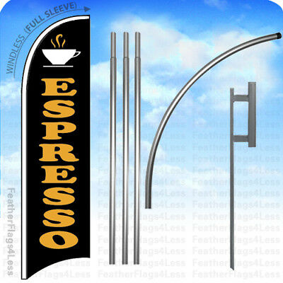 Espresso - Windless Swooper Flag Kit Feather Banner Sign 15 Set - Kb