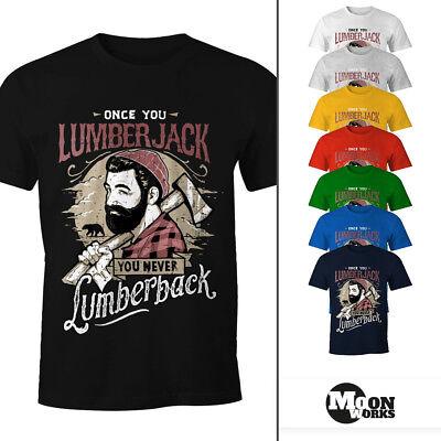 Herren T-Shirt Lumberjack Holzfäller Hipster Bart Beard Lumberback