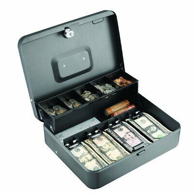 Cash Box Steel Tiered Secure Money Drawer Container Organizer With Key Lock