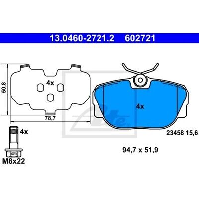 1 Bremsbelagsatz, Scheibenbremse ATE 13.0460-2721.2 passend für LAND ROVER