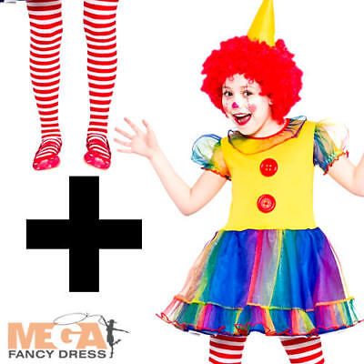 Cute Little Clown + Tights Girls Fancy Dress Funny Circus Kids Childrens Costume