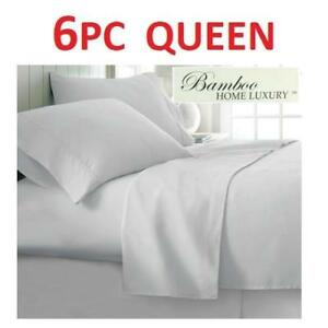 NEW BAMBOO 6PC BED SHEET SET QUEEN HA-1114Q 222748166 HOME LUXURY 6800 SERIES DEEP POCKET WRINKLE FREE BEDDING BEDROOM