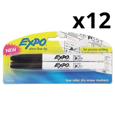 Low-odor Dry-erase Marker Ultra Fine Point Black 2pack Pack Of 12
