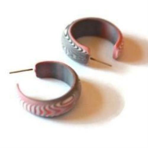 Pink and Black Matte Velvet Vintage Lucite Small Simple Hoop Earrings
