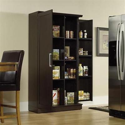 Large Kitchen Cabinet Storage Food Pantry Wooden Shelf Cupboard Dark Oak (Oak Kitchen Pantry)