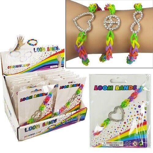Rainbow Loom Bracelet Wristband w/ Sparkle Rhinestone Charm (Pack of 48)