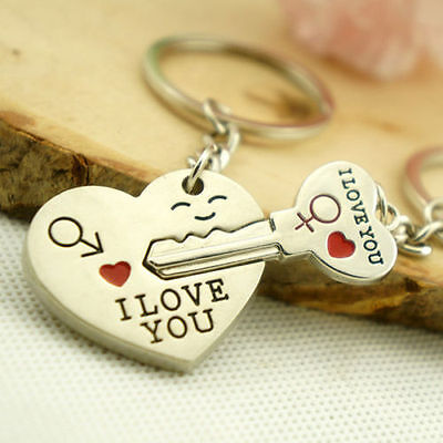 Romantic Couple Keychain Keyring Keyfob Valentines Day Lover Gift Heart Key Set