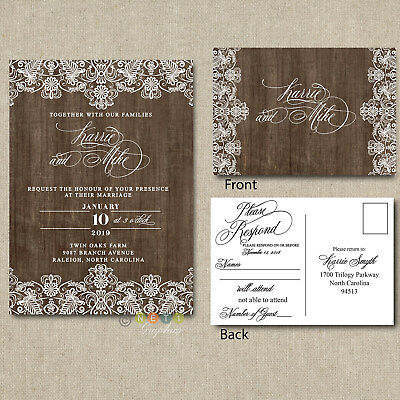 Wedding Invitation Set Suite | Rustic Wood Lace Country With RSVP Post Cards  ](Post Wedding Invitations)