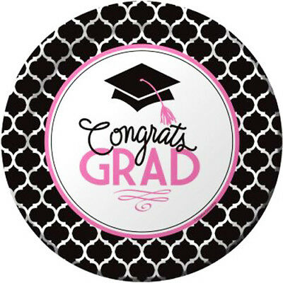 GRADUATION Glamorous Grad SMALL PLATES (18) ~ Party Supplies Cake Dessert Paper