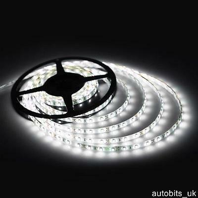 12v 5M WHITE CLEAR LED 5050 SMD STRIP BRIGHT LIGHT WATERPROOF MARKER VAN BUS 4X4