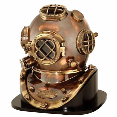 U.S.NAVY MARK V REPLICA 1952 DIVING DIVERS HELMET WITH WOODEN ROSEWOOD BASE