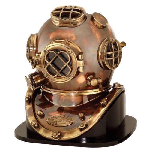 "Brass Sea Marine Scuba Diving Divers Helmet US Navy Mark V Solid Brass 18"" Decor"