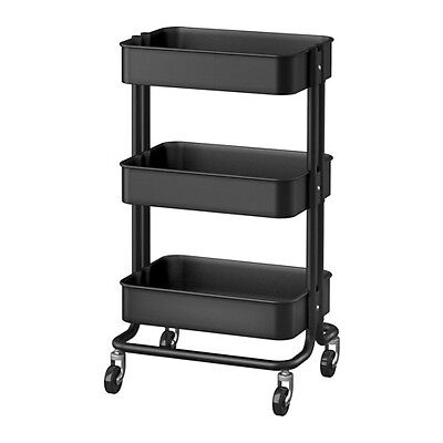New IKEA Raskog Home Kitchen Bedroom Storage Steel Utility Cart, Black
