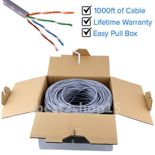 Grey CAT5E 1000FT CAT5 CABLE UTP WIRE SOLID ETHERNET NETWORK BULK ...