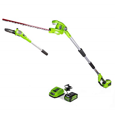 Greenworks 40V 8-inch Cordless Pole Saw with Hedge Trimmer A
