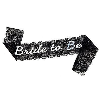 Bachelorette Bride to Be Black Lace Sash - Bachelorette Party - Bridal Shower - Black Bachelorette Party