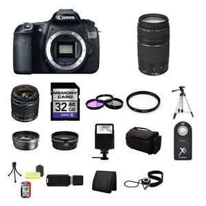Canon EOS 60D Digital SLR Camera w/18-55 & 75-300 Lenses, 32GB Full Kit