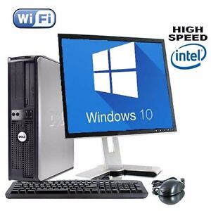 dell dual core desktop tower pc tft computer with windows 10 wifi uk seller ebay. Black Bedroom Furniture Sets. Home Design Ideas