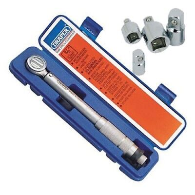 """DRAPER 3/8"""" DR REVERSIBLE RATCHET TORQUE WRENCH WITH CERTIFICATE + 4PC ADAPTOR"""