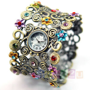 TRENDY CRYSTAL FLOWER BRACELET BANGLE LADY FOB WATCH