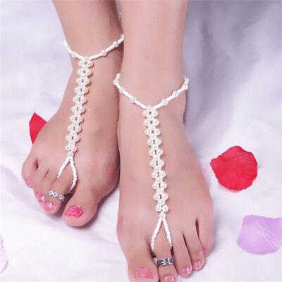 Imitation Perle Barfuß Fußkettchen Kette Sandalen Fußkettchen Strand Fuß KetteBC